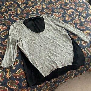 Ann Taylor Mixed Material Shirt